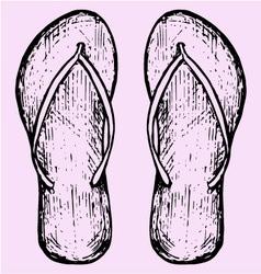 Beach slippers vector image