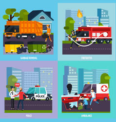 emergency services icon set vector image vector image