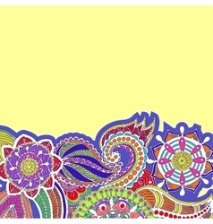 Hand drawn colored floral zentangle on white vector image vector image