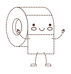 kawaii cartoon toilet paper roll in brown dotted vector image vector image