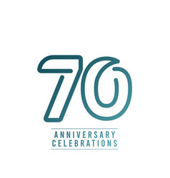 70 years anniversary celebration number text vector