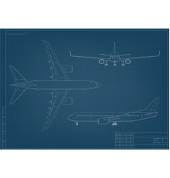 Airplane blueprint white outline aircraft on blue vector
