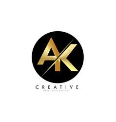 Ak a k golden letter logo design with a creative vector