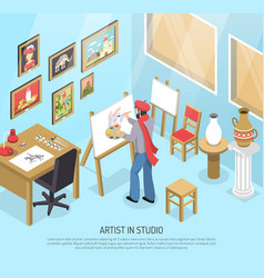 Artist in studio isometric vector