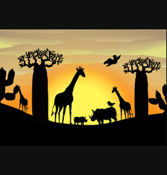 background scene with wild animals in the field vector image