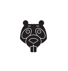 beaver black concept icon beaver flat vector image