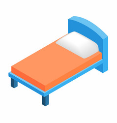 Bed in hotel isometric 3d icon vector image