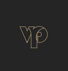 Black and yellow gold alphabet letter vp v p logo vector