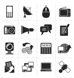 Black Communication and Technology icons vector