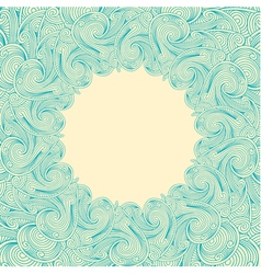 Blue engraving round frame vector