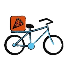 blue pizza food delivery bicycle drawing vector image