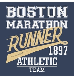 Boston Marathon runner t-shirt vector image