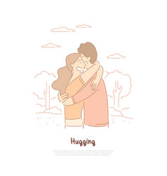 boyfriend and girlfriend hugging friends vector image