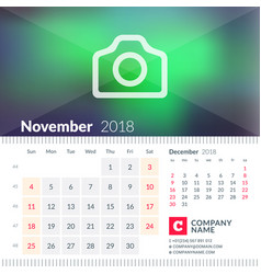 calendar for november 2018 week starts on sunday vector image