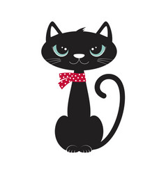 card with cute black cat vector image