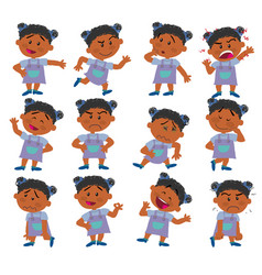 Cartoon character black girl set vector