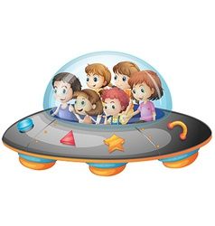 Children in spaceship vector image vector image