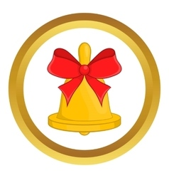 Christmas bell with red bow icon vector