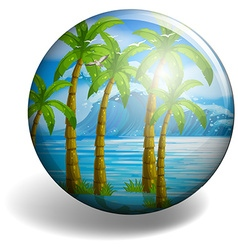 Coconut tree on round badge vector