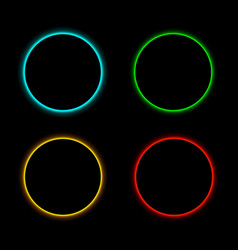colorful round neon frames set vector image