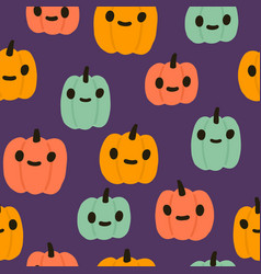 colourful jack lanterns halloween seamless pattern vector image