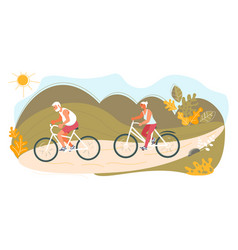 couple seniors on bicycles vector image