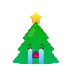 crying christmas tree isolated emoticon vector image