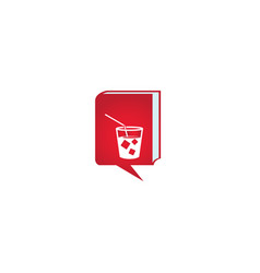 cup juice with square ice cubes and straw logo vector image