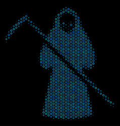 Death scytheman composition icon of halftone vector