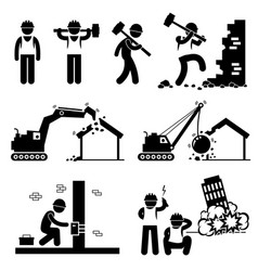 Demolition worker demolish building stick figure vector