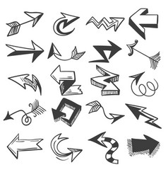 doodle drawing arrow elements vector image
