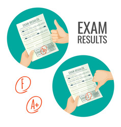Exam results with excellent and unsatisfactory vector