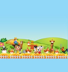 Farm scene with animal and blank sky vector