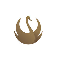 gold colored swan vector image