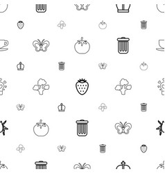 green icons pattern seamless white background vector image