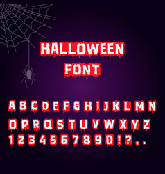 Halloween font blood letter for horror text vector