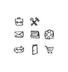 hand drawn icons for website vector image