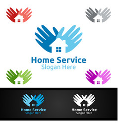 hand real estate and fix home repair services logo vector image
