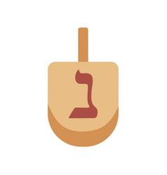 hanukkah holiday dreidel flat design icon vector image