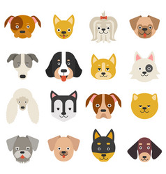 Heads home pets funny dogs in flat style vector