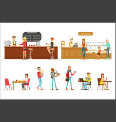 interior design and happy clients of a coffee shop vector image