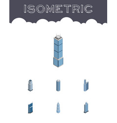 Isometric skyscraper set of exterior business vector