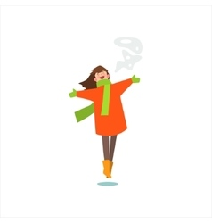 Jumping Girl In Winter Coat vector