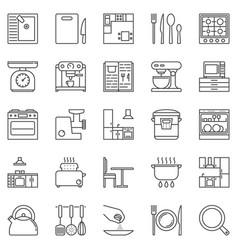 kitchen outline icons set - appliances vector image