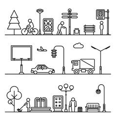 Line urban landscape vector image
