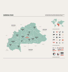 Map burkina faso high detailed country vector