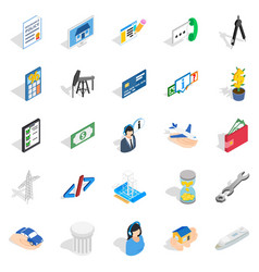 Market research icons set isometric style vector