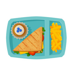 Meal tray filled with sandwich french fries and vector