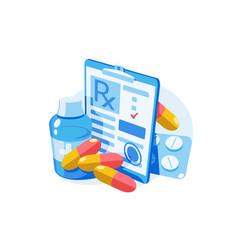 medicine prescription with medicines vector image