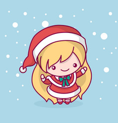 Merry christmas cute kawaii character vector